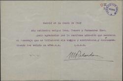 Carta de Marcos Redondo a Guillermo Fernández-Shaw y Federico Romero, agradeciéndoles su adhesión con motivo de un homenaje.