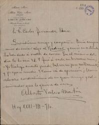 Cartas de Alberto Valero Martín a Carlos Fernández Shaw.