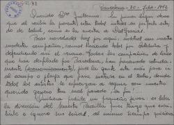 Carta de Emilio Vendrell a Guillermo Fernández-Shaw, hablando del ambiente teatral en Barcelona y pidiéndole le indique un buen agente teatral.