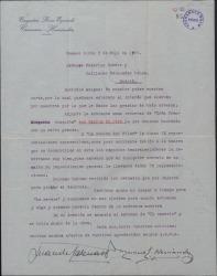 Carta de Juan de Casenave y Manuel Hernández a Guillermo Fernández-Shaw y Federico Romero, dándoles noticias de su actividad teatral, sobre todo con obras de ellos.