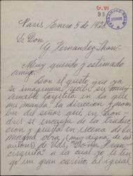 """Carta de Ricardo Lara a Guillermo Fernández-Shaw, hablando de la puesta en escena en inglés de """"Doña Francisquita""""."""
