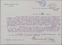 Carta de Eduardo del Palacio Fontán a Guillermo Fernández-Shaw, proponiéndole fechas para una entrevista.