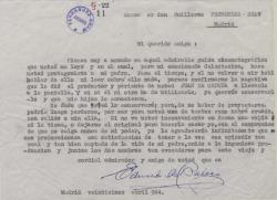 Carta de Eduardo del Palacio Fontán a Guillermo Fernández-Shaw, sobre un guión cinematográfico de éste, que tiene por protagonista al padre de aquél.