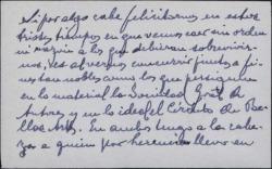 Tarjeta de visita de Eduardo del Palacio Fontán a Guillermo Fernández-Shaw, felicitándole por su nombramiento en la Sociedad General de Autores de España