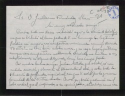 Carta de Eduardo del Palacio Fontán a Guillermo Fernández-Shaw, explicando los motivos por los que no pudo asistir a un homenaje a Carlos Fernández-Shaw.