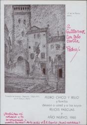 Tarjeta de Pedro Chico a Guillermo Fernández-Shaw, con una felicitación navideña.