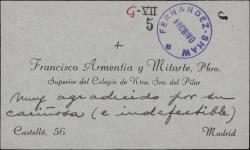 Tarjeta de visita de Francisco Armentia a Guillermo Fernández-Shaw, agradeciéndole su felicitación.