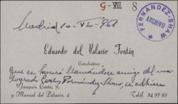 Tarjeta de visita de Eduardo del Palacio Fontán a Guillermo Fernández-Shaw, adhiriéndose a un homenaje a Carlos Fernández Shaw.