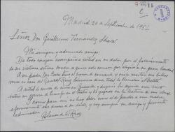 Carta de Blanca de los Ríos a Guillermo Fernández-Shaw, dándole el pésame por la muerte de su madre y recordando a su padre.
