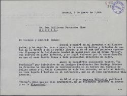"""Carta de Blanca de los Ríos a Guillermo Fernández-Shaw, agradeciéndole el juicio sobre su drama """"Farsa"""", que acaba de estrenarse."""