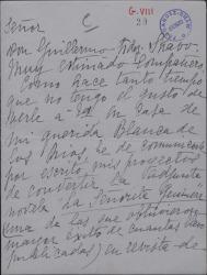 """Carta de Julia Mélida a Guillermo Fernández-Shaw, comunicándole el proyecto de convertir la novela """"Señorita Guimerá"""" en una revista."""