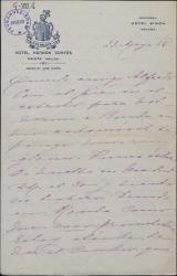 Carta de la Duquesa de Parcent a Alfredo [Marqués de Valdeiglesias ?], contándole sus impresiones sobre la ciudad de Málaga.