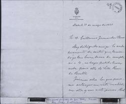Carta de Francisco Rodríguez Marín a Guillermo Fernández-Shaw, lamentando no haber podido favorecer a una recomendada de éste.