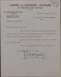 """Carta de Ferruccio Pasquali a Guillermo Fernández-Shaw, sobre la traducción y representación de la obra """"Louise de Lavallière""""."""