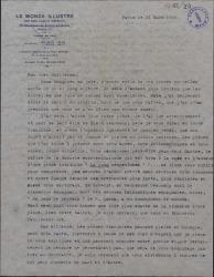 Carta del Conde de Vignier a Guillermo Fernández-Shaw, comentando el estilo de las obras teatrales francesas de post-guerra en contraste con el gusto español.