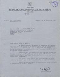 Carta de Robert Achard a Guillermo Fernández-Shaw, contestando a una de éste sobre la grabación de una de sus obras.