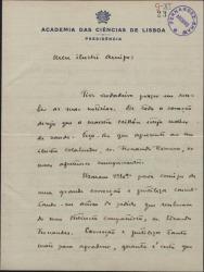 Carta de Julio Dantas a Guillermo Fernández-Shaw, sobre la adaptación de una obra de aquél.