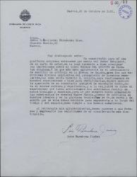 Carta de Luis Barahona Jiménez a Guillermo Fernández-Shaw, agradeciendo la crítica positiva de su obra y el ofrecimiento de éste de escribir un artículo en la prensa sobre ella.