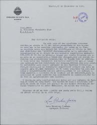 Carta de Luis Barahona Jiménez a Guillermo Fernández-Shaw, agradeciendo el artículo elogioso publicado en la prensa por éste sobre su obra.