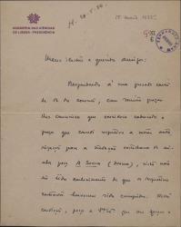 """Carta de Julio Dantas a Federico Romero y Guillermo Fernández-Shaw, refiriéndose a la traducción castellana de la obra """"A Severa""""."""