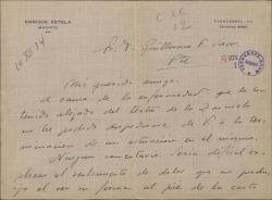 Carta de Enrique Estela a Guillermo Fernández-Shaw, disgustado por haber tenido que presentar su dimisión en el Teatro de la Zarzuela.