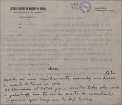 Carta de Leopoldo Magenti a Guillermo Fernández-Shaw y Federico Romero, sobre asuntos teatrales y anunciando su inminente traslado a Madrid.