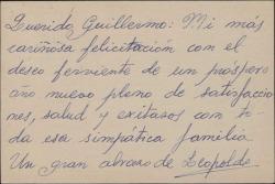 Tarjeta postal de Leopoldo Magenti a Guillermo Fernández-Shaw felicitándole el Año Nuevo.