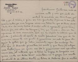 """Carta de Leopoldo Magenti a Guillermo Fernández-Shaw, hablando de los decorados e intérpretes para """"La labradora""""."""