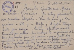 Tarjeta postal de Leopoldo Magenti a Guillermo Fernández-Shaw, correspondiendo a una carta suya.