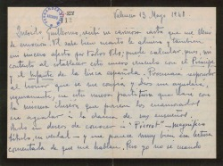 Carta de Leopoldo Magenti a Guillermo Fernández-Shaw, expresando su emoción por tener de nuevo ocasión de colaborar con él.