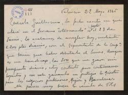 Carta de Leopoldo Magenti a Guillermo Fernández-Shaw, sobre asuntos teatrales comunes.