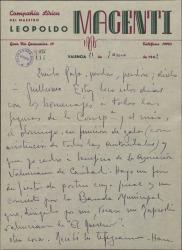 Carta de Leopoldo Magenti a Rafael Fernández-Shaw, sobre sus actividades músico-teatrales.