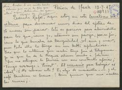 """Carta de Leopoldo Magenti a Rafael Fernández-Shaw, diciéndole que va a empezar a trabajar en la obra """"Pierrot"""" y lamentándose de sus negocios como empresario teatral."""