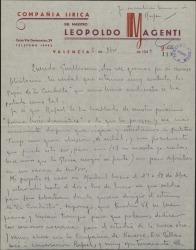 Carta de Leopoldo Magenti a Guillermo Fernández-Shaw, agradeciéndole una felicitación y comunicándole noticias de diversos asuntos teatrales.