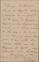 Tarjeta postal de Vicente Arregui a Guillermo Fernández-Shaw, acusando recibo de su carta.