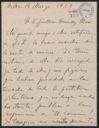 """Carta de Jesús Guridi a Guillermo Fernández-Shaw, sobre ciertos asuntos de """"El caserío"""" y accediendo a colaborar con él en un sainete."""