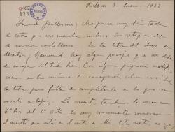 Carta de Jesús Guridi a Guillermo Fernández-Shaw, comentando cuestiones sobre la obra en que colaboran.