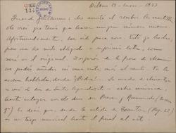 Carta de Jesús Guridi a Guillermo Fernández-Shaw, dando noticias del avance de los trabajos que realiza en una obra de éste.