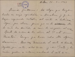 Carta de Jesús Guridi a Guillermo Fernández-Shaw, alegrándose del éxito obtenido en Barcelona y dando cuenta del desarrollo del trabajo que está realizando para una obra de éste.