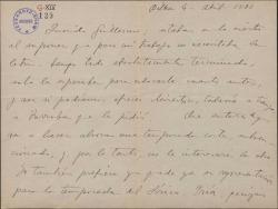 """Carta de Jesús Guridi a Guillermo Fernández-Shaw, diciéndole que tiene terminada la letra de la obra """"Mirentxu"""", cuya representación será en la temporada siguiente y contándole sus proyectos profesionales."""