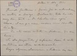 """Carta de Jesús Guridi a Guillermo Fernández-Shaw, agradeciendo su felicitación por su obra """"Amaya""""."""