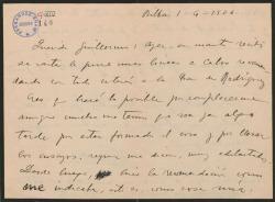 Carta de Jesús Guridi a Guillermo Fernández-Shaw, comunicándole haber hecho la recomendación que éste le había pedido.