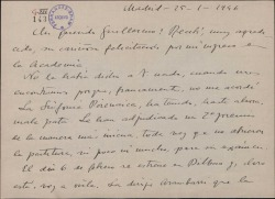 Carta de Jesús Guridi a Guillermo Fernández-Shaw, agradeciéndole la felicitación por su ingreso en la Academia.