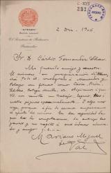 Cartas de Mariano Miguel del Val a Carlos Fernández Shaw.