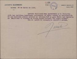 Carta de Jacinto Guerrero a Guillermo Fernández-Shaw agradeciendo la felicitación por un estreno.