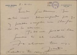 Carta de Jacinto Guerrero a Guillermo Fernández-Shaw, encargándole algo relativo a una edición.