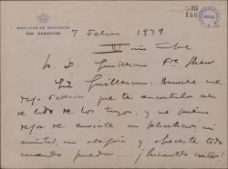 Carta de Jacinto Guerrero a Guillermo Fernández-Shaw, celebrando que se encuentre bien.