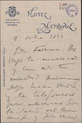 Carta de Jacinto Guerrero a Federico Romero, con comentarios sobre la temporada teatral.