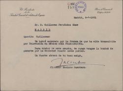 """Carta de Jacinto Guerrero a Guillermo Fernández-Shaw, sobre una transmisión de """"Doña Francisquita"""" en la televisión mejicana."""