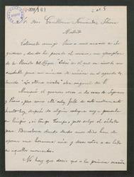 Carta de Juan Vidal Roda a Guillermo Fernández-Shaw, diciéndole que ha puesto música a un cantable original suyo.